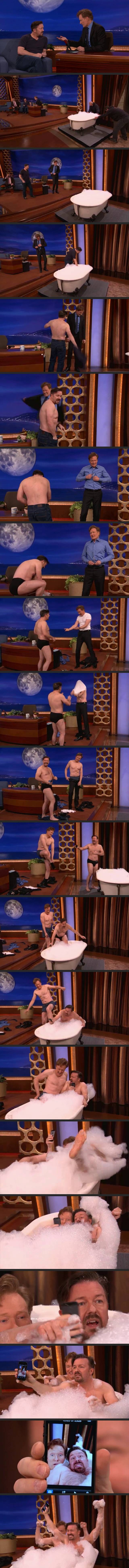 Ricky Gervais & Conan Take A Bubble Bath