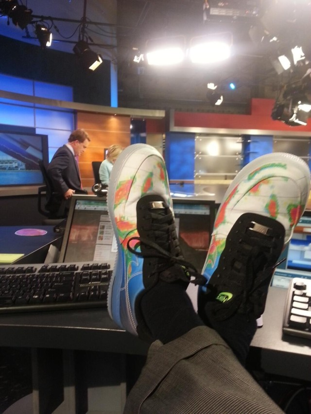 """Our local weatherman tweeted a picture of his new shoes."""