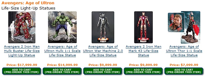 Avengers: Age of Ultron life-size light-up statues