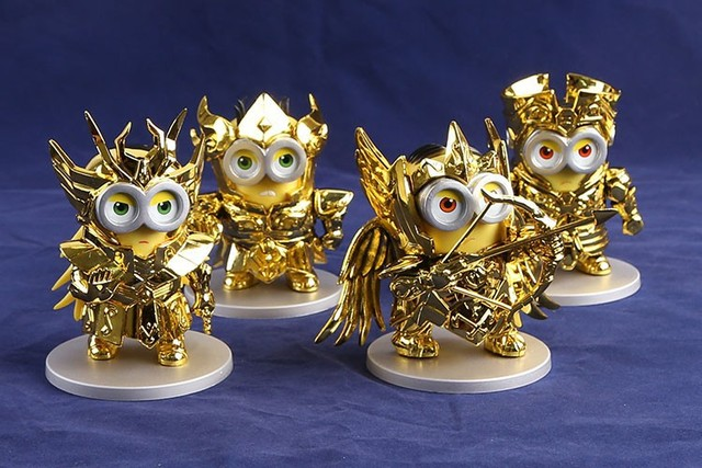 Minions cosplaying as Gold Saints